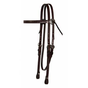 Reinsman Border Tool Browband Headstall With Tie Concho
