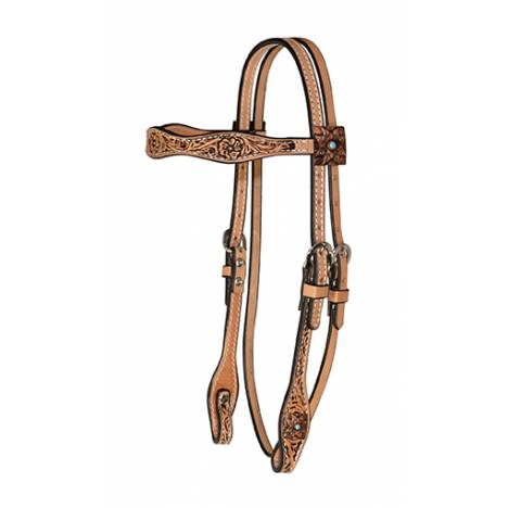 Reinsman Copper Square Concho Scalloped Browband Headstall