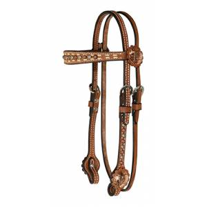Reinsman Roughout Flared Browband Headstall With Dots