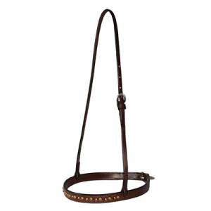 Reinsman Bridle Leather Noseband with Brass & Copper Spots