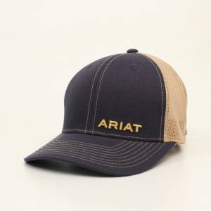 Ariat Mens Stitched Brim Offset Logo Cap