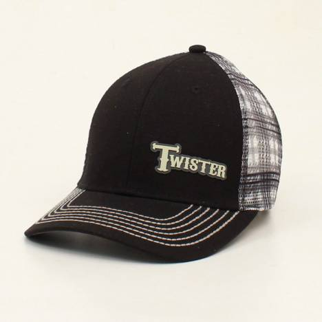 Twister Mens Rubber Logo Plaid Mesh Back Cap