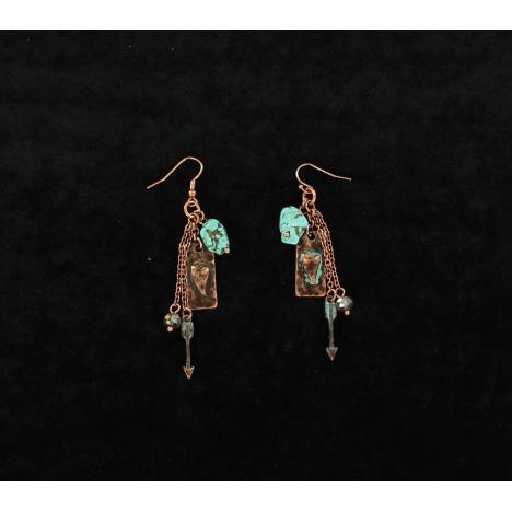 Blazin Roxx Dangle Patina Heart Stone Arrow Earrings