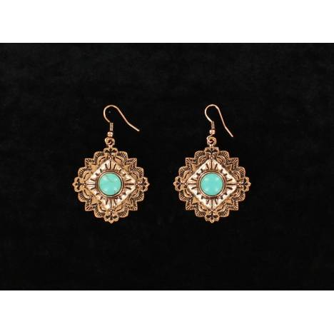 Blazin Roxx Embossed Diamond Stone Center Dangle Earrings
