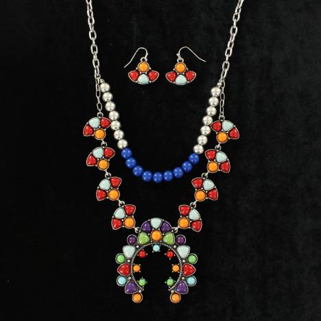 Blazin Roxx Multi Stone Squash Blossom Ball Chain Necklace And Earring Set