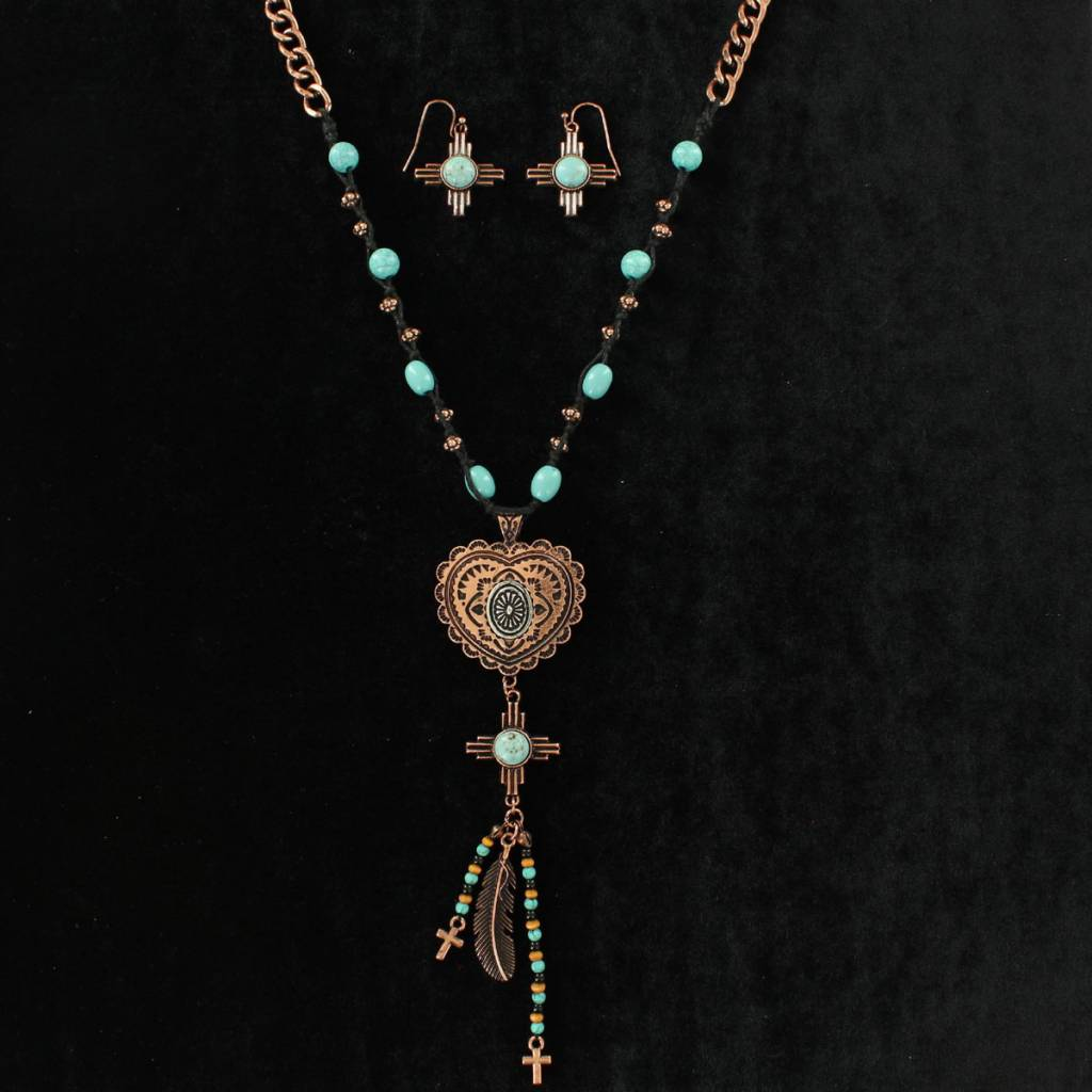 Blazin Roxx Copper Heart Cross Feather Necklace And Earrings Set