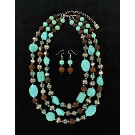 Blazin Roxx Crystal Stone And Wood Bead Choker And Earrings Set