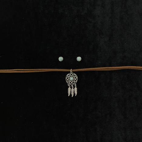 Blazin Roxx Dream Catcher Suede Choker And Earrings Set