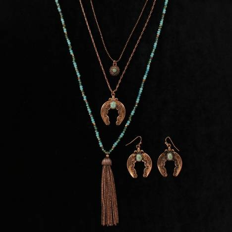 Blazin Roxx Squash Blossom Earrings And Multi Chain Tassle Necklace Set