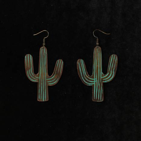Blazin Roxx Large Patina Cactus Dangle Earrings