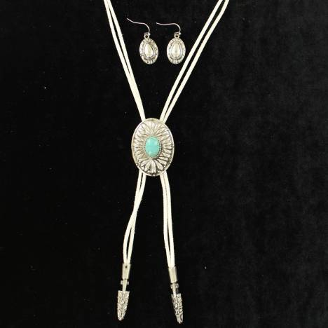 Blazin Roxx Oval Concho Bolo Style Necklace And Earrings Set