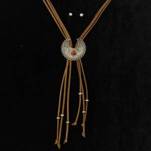 Blazin Roxx Center Stone Squash Blossom Suede Bolo Style Necklace And Earrings