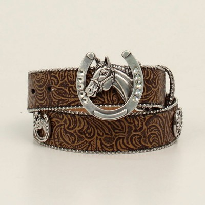 Ariat Kids 1 1/4 Floral Emboss Belt With Horse/Horsehoe Conchos And Buckle