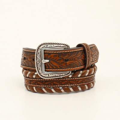 Ariat Kids 1 1/4 Floral Embossed Laced Edge Western Belt and Buckle