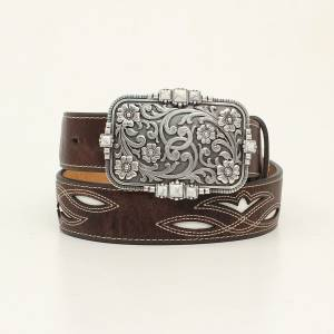 Ariat Ladies 1 1/2 Cream Underlay Stitched Design Belt And Floral Buckle