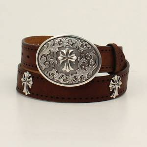 Ariat Ladies 1 1/2 Perforated Edge Cross Concho Belt Oval Cross Buckle