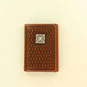 Ariat Accessories Mens Tri-Fold Basketweave Square Star Concho Wallet