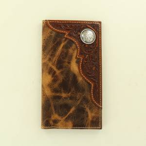 Ariat Accessories Mens Rodeo Distressed Embossed Corner Round Concho Wallet