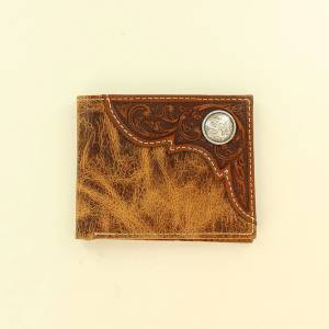 Ariat Accessories Mens Bi-Fold Distressed Embossed Corner Round Concho Wallet