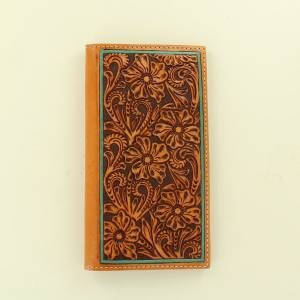 Ariat Accessories Mens Rodeo Floral Embossed Leather Edged Wallet