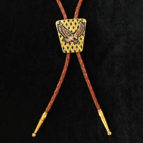 Crumrine Rectangle Two Tone Bald Eagle Bolo Tie