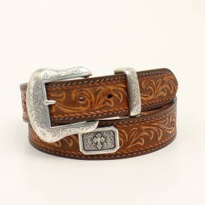 Nocona Belt Company Mens Prescott Embossed Laced Edge Belt And Buckle