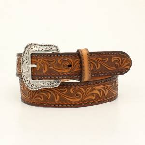Nocona Belt Company Mens Tucson Stitched Edge Embossed Belt And Buckle