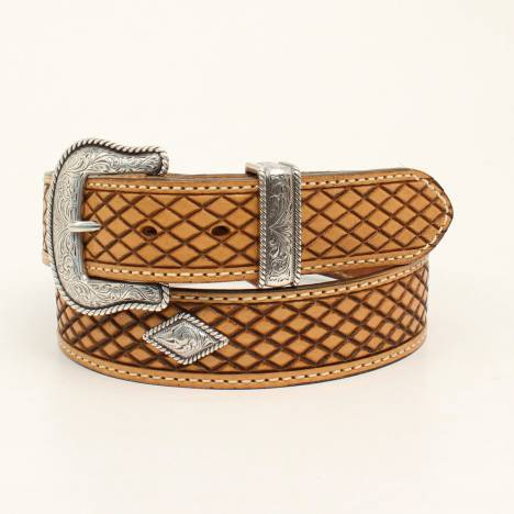Nocona Belt Company Mens Forth Worth Diamond Embossed Concho Belt With Buckle