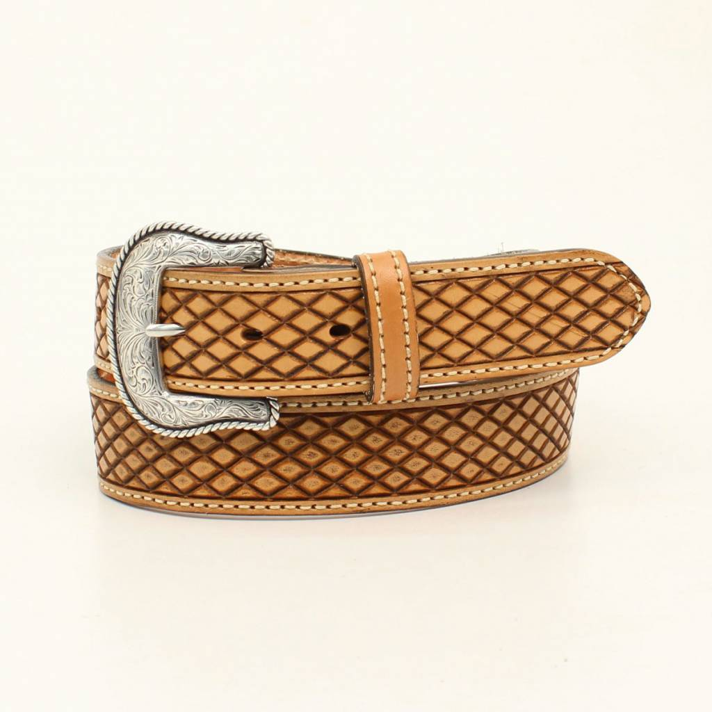 Nocona Belt Company Mens Huntsville Diamond Embossed Belt And Buckle