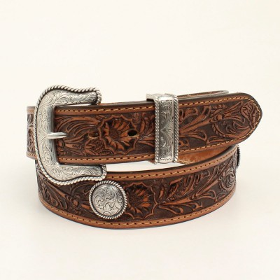 Nocona Belt Company Mens Pendleton Round Concho Floral Embossed Belt And Buckle