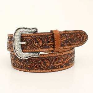 Nocona Belt Company Mens Salinas Floral Embossed Belt And Buckle