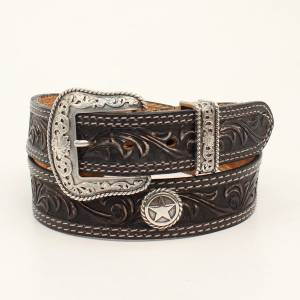 Nocona Belt Company Mens San Antonio Round Star Concho Embossed Belt And Buckle