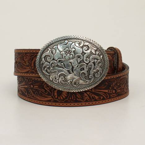 Nocona Ladies Belle Forche Floral Embossed Belt And Matching Oval Buckle
