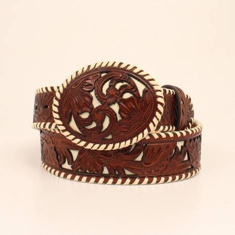 Nocona Ladies 1 1/2 Perforated Floral Laced Edge Belt And Matching Buckle