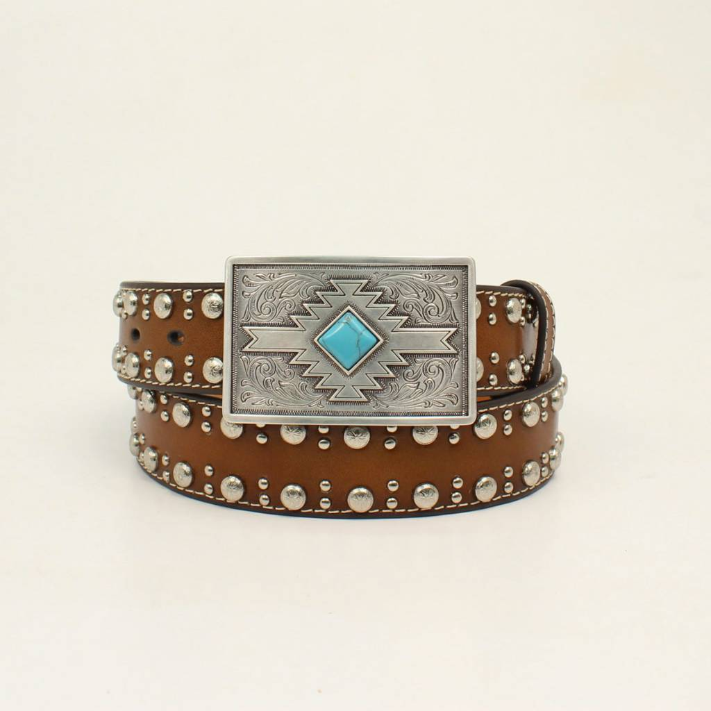 Nocona Ladies 1 1/2 Studded Edge Belt With Aztec Print Buckle