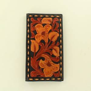 Nocona Mens Rodeo Floral Embossed Lace Edged Wallet
