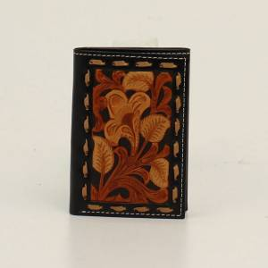 Nocona Mens Tri-Fold Floral Embossed Lace Edged Wallet