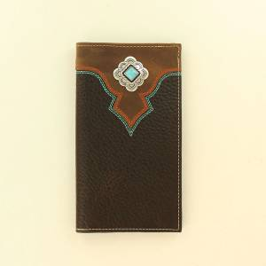 Nocona Mens Rodeo Top Stitch Diamond Concho Wallet