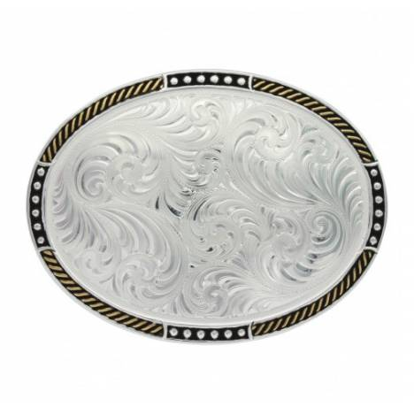 Montana Silversmiths Two Tone Stop Ties Oval Belt Buckle