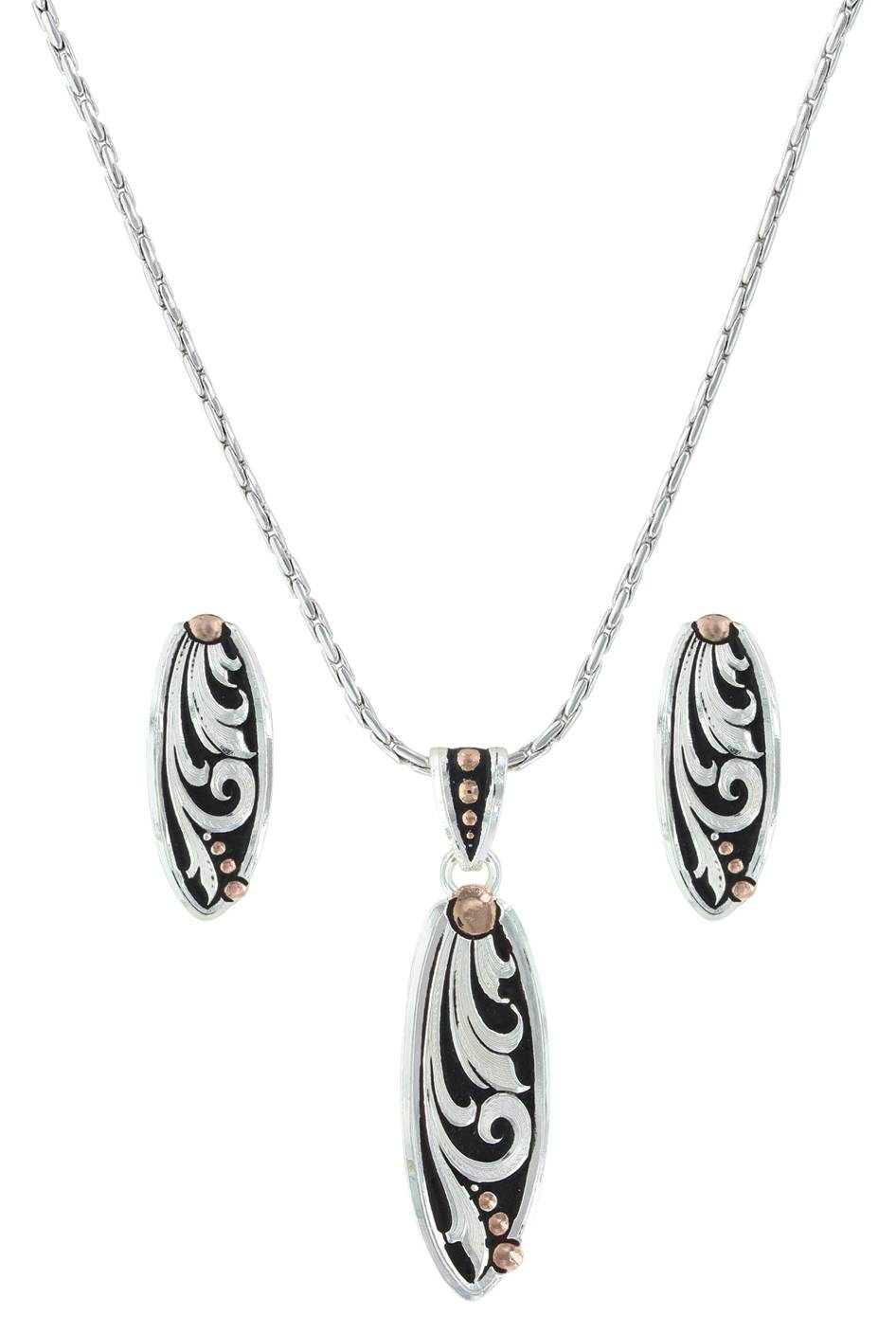 cf7e16edc51a ... $84.00 A two tone set of a curved long oval with a silver finished  filigree design with bead design in a rose gold finish with a black paint  background.