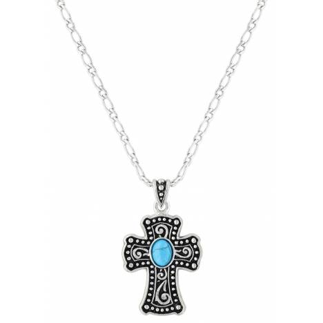 Montana Silversmiths Turquoise Swirling Cross Necklace
