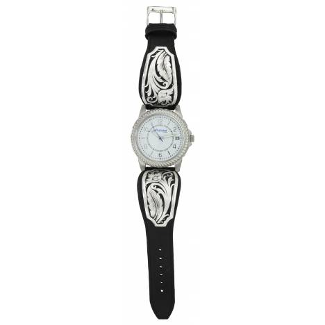 Montana Silversmiths Leathercut Bowing Floral Dress Watch