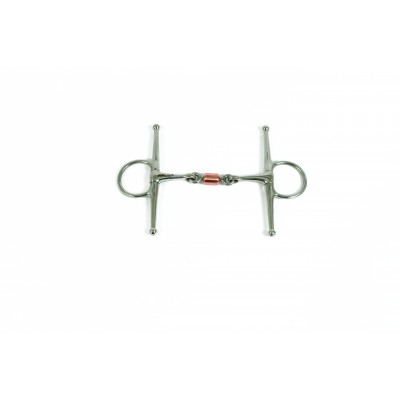Metalab Double Jointed 11 MM Copper Roller Link Full Cheek Snaffle