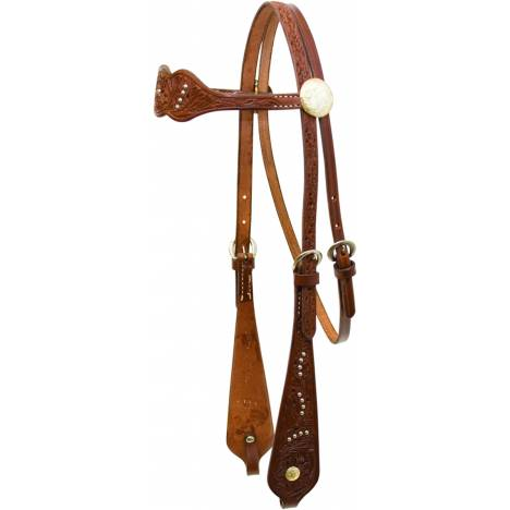 Billy Cook Saddlery Triple Scalloped Dots Floral Tooled Browband Headstall