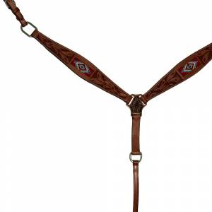 Intrepid Western Breast Collar- Red Beading