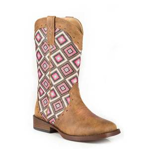 Roper Kids Glitter Geo Bling Wide Square Toe Cowgirl Boots