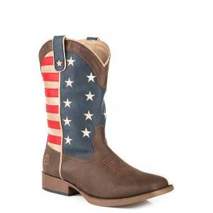 Roper Mens American Patriot Wide Square Toe Cowboy Boots