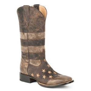 Roper Mens Working Mans Flag Square Toe Cowboy Boots