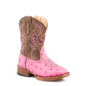 Roper Toddler Annabelle Wide Square To Faux Ostrich Cowgirl Boots
