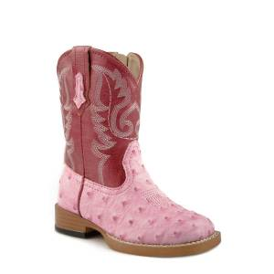 Roper Toddler Bumps Wide Square Toe Cowgirl Boots - Pink